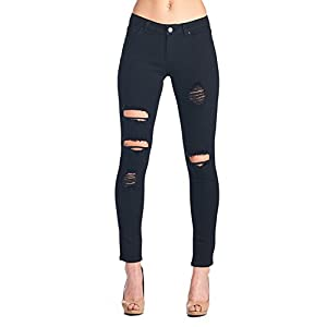 ICONICC Women's Butt Lifting Skinny Jeans Destroyed and Ripped Stretch Denim