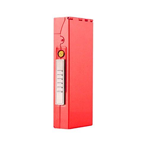 KAKAKA Aluminum Cigarette Case Box Holder for Slim Cigarette (100mm) with USB Rechargeable Cigarette Lighter (Red) ()