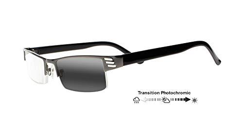 Men Gun Half Rim Frame Bifocals Transition Photochromic Reading Sunglasses Presbyopia Reading Glasses (BLACK, 2.0)