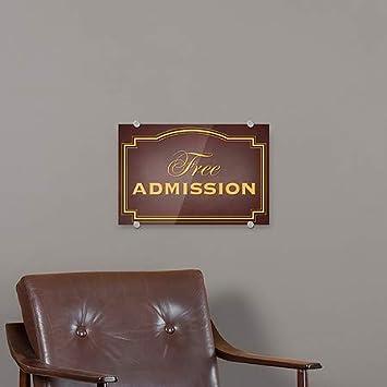 CGSignLab 18x12 Free Admission 5-Pack Classic Brown Premium Brushed Aluminum Sign