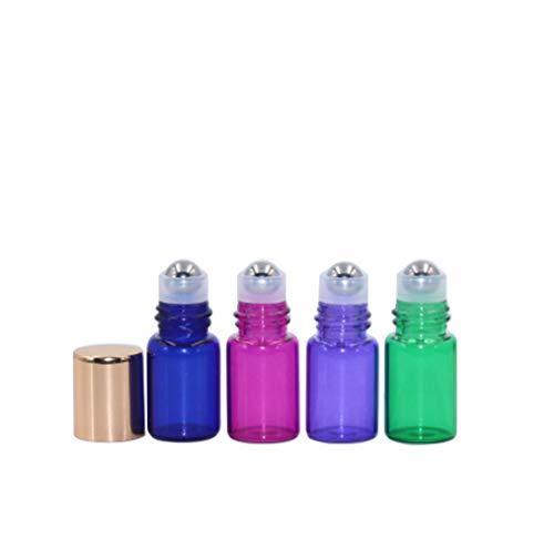 20 Pack,2ml(5/8 Dram) Glass Roll on Bottle Multicolour Sample Test Roller Essential Oil Vial Stainless Steel Roller Ball With Gold Aluminum Cap Portable Bottles For Aromatherapy,Perfume Oils