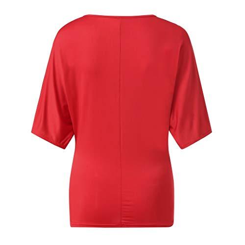 Femme Rouge Chauve Shirt Blouse Euzeo Chemisier Paillette Grande Manche Haut Fille Taille Épaule Printemps Soirée Polos souris Fashion Tops Loose Casual T Été Blouses Dénudée Top Courte rAqFnwrWf