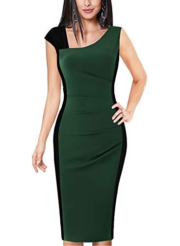 - Fantaist Women's Sleeveless V Neck Ruched Optical Illusion Formal Cocktail Midi Dress (M,FT635-Green)