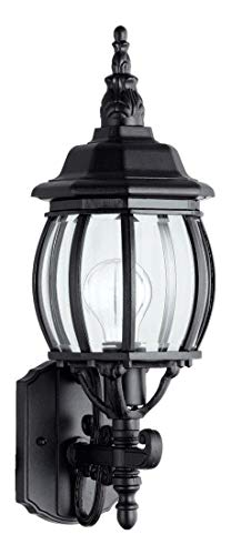 One Light Black Clear Glass Wall Lantern ()