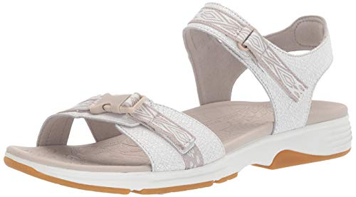 Dansko Women's Angie Sport Sandal, White Crackle Leather, 39 M EU (8.5-9 US)
