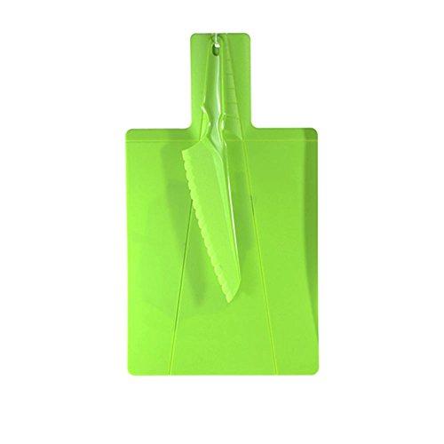Conjunto de Tabua Para Corte Mais Faca de Plástico, Fackelmann FK-39008, Verde