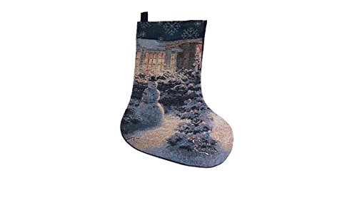 Thomas Kinkade Christmas Collage Stocking (Snowman Kinkade Christmas Victorian Thomas)