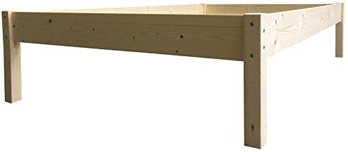 Erhöhtes Bett Massivholz Holzbett 90 100 120 140 160 180 200 x 200cm Seniorenbett (100cm x 200cm, Betthöhe 55cm)
