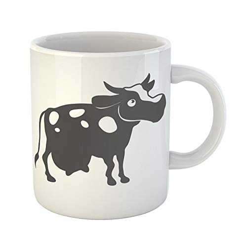 (Emvency Coffee Tea Mug Gift 11 Ounces Funny Ceramic Abstract Flat Cow Black Silhouette for Polygraphy Ui Agriculture Gifts For Family Friends Coworkers Boss)