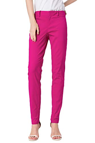 SATINATO Women's Straight Pants Stretch Slim Skinny Solid Trousers Casual Business Office (0 Regular, Fuchsia)