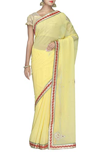 Indian Chiffon Saree Yellow Exclusive Designer Ethnic Wear rOqTf