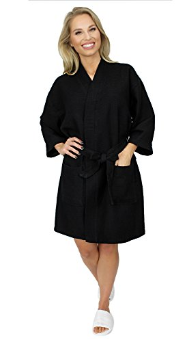 Indulge Premium Linen Women's Thigh Length Waffle Kimono Robe (Small/Medium, Black)
