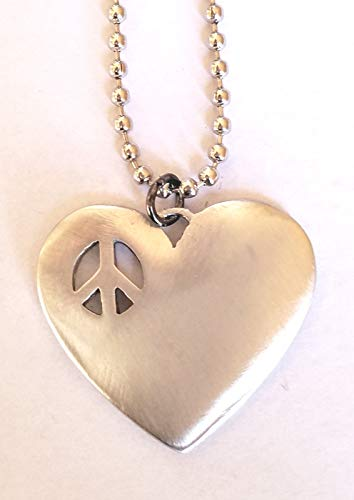 - Womens Boho Pewter Heart Shaped Necklace with Cut-Out Peace Sign- 24