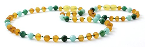 Amber Jade Necklace - Raw Amber Teething Necklace and Bracelet/Anklet Set for Baby Made with Amazonite and African Jade Beads - Unpolished Honey Amber Beads - BoutiqueAmber (Raw Honey/Jade/Amazonite)