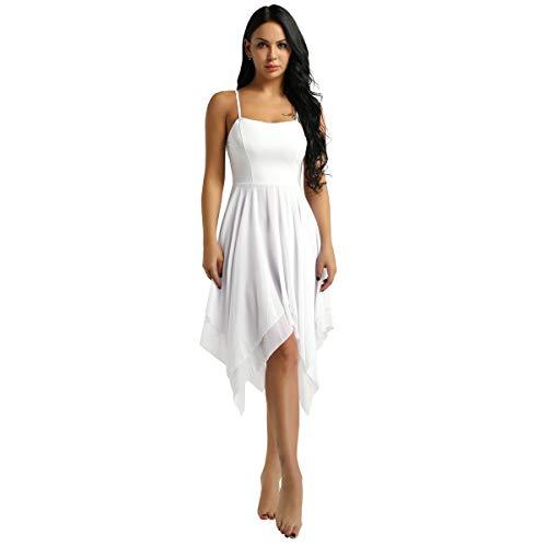YOOJIA Women's Lyrical Ballet Dance Leotard Dress Spaghetti Straps Asymmetric Chiffon Skirt Camisole Costume White Large ()