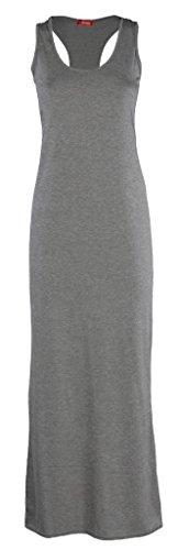 Vestido largo para mujer, diseño de tirantes tipo atlético, verano, tallas 36-54 gris