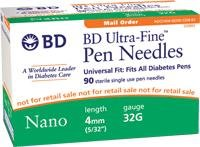 Becton Dickinson 58320122 Ultra-Fine Nano Pen Needle 32G X 4 Mm (100 Count),Becton Dickinson - Box 100