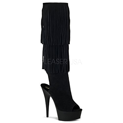 Pleaser Women's Delight-2019 Knee-High Boot,Black Suede,12 M - Pleaser Open Heels Toe