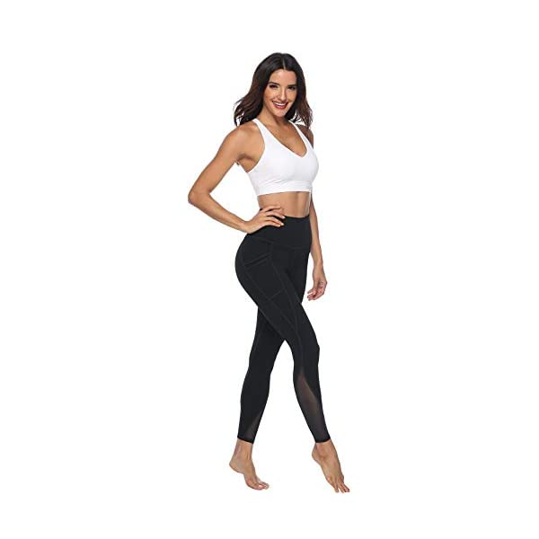 Afitne Womens High Waist Mesh Yoga Leggings With Side Pockets Tummy Control Workout Squat Proof Yoga Pants