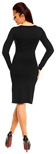 Zeta Ville Damen Langarm-Kleid Elegantes Shirtkleid Bleistiftkleid Gr. 36-46 285z Schwarz dsOXM9M3