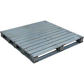 Vestil SPL-4848 Galvanized Finished Steel Pallet, Uniform Floor Static Capacity 8000 lb, Uniform Fork Dynamic Capacity 4000 lb, Unsupported Pallet Rack Capacity 2200 lb, 48'' Length, 48'' Width, 10'' Height