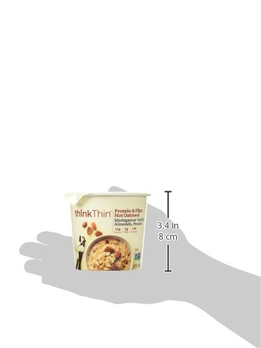 thinkThin Protein & Fiber Hot Oatmeal, Madagascar Vanilla with Almonds and Pecans, 1.76 oz Bowl (Pack Of 6) by thinkThin (Image #4)