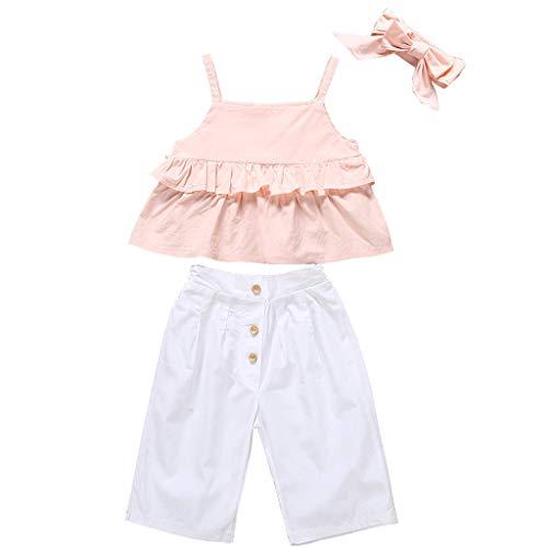 Infant Baby Girls Kids Straps Ruffle Tops T Shirt+Pants+Headband Outfits Set Pink