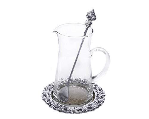 - Arthur Court Designs 3-Piece Beverage Pitcher Fleur-De-Lis Pattern 8.5