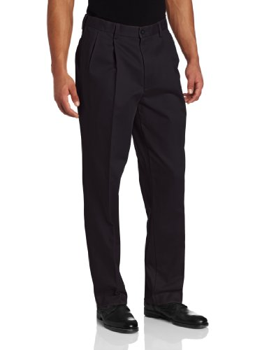 Savane Men's Pleated Performance Chino Pant, Classic Navy, 34W x 31L