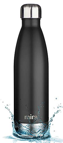 MIRA 17 Oz Stainless Steel Vacuum Insulated Water Bottle | Leak-Proof Double Walled Powder Coated Cola Shape Bottle | Keeps Drinks Cold for 24 Hours & Hot for 12 Hours | 500 ml Matte Black ()