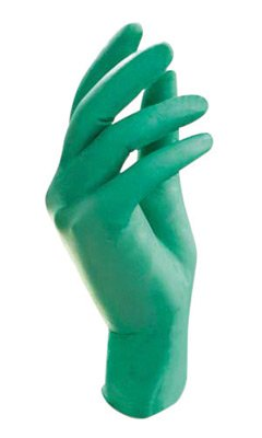 "Ansell Large Bright Green 11"" NeoTouch® 5 mil Neoprene Ambidextrous Exam or Food Grade Powder-Free Disposable Gloves With Textured Finger Tip Finish And Rolled Beaded Cuff"