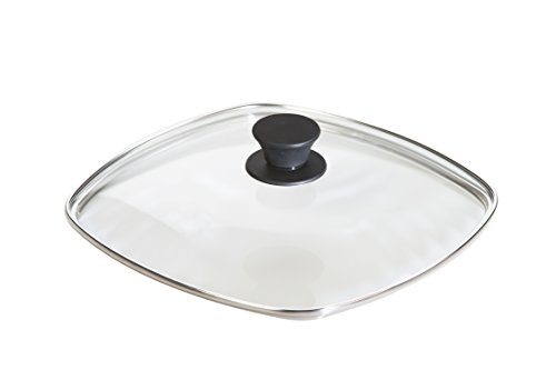 Lodge Square Tempered Glass Lid (10.5 Inch) - Fits Lodge 10.5 Inch Square Cast Iron Skillets and Grill Pans