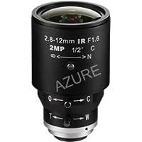 Azure Photonics AZURE-IR02812ZM 1/2 2.8-12mm F1.6 Manual Iris Vari-Focal C-Mount Lens, IR Corrected, 3 Megapixel Rated