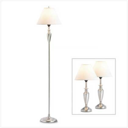 Contemporary Silver Finish Metal Floor Table Lamp Set [Kitchen] by O'NeillGifts