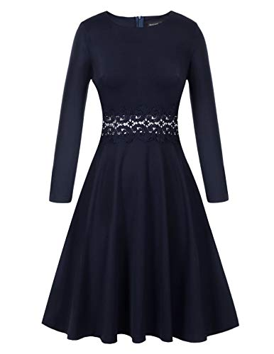 Ladies Classic All Blue Cocktail Wedding Guest Dress Navy Blue Medium ()