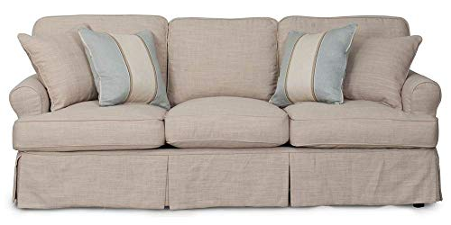 Amazon.com: Sunset Trading 85 in. Slipcovered Sofa in Linen ...
