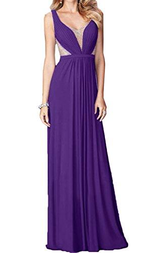 Ausschnitt Damen Festkleid Violett Liebling Ivydressing A Abendkleid Partykleid Linie amp;Chiffon Tuell V Steine Promkleid wtqAdq4