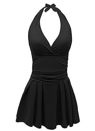 ECOFUN Women's One Piece Swimsuits Plus Size Swimwear Cover up Swimdress (Backless-Black,M(US Size:8-10))
