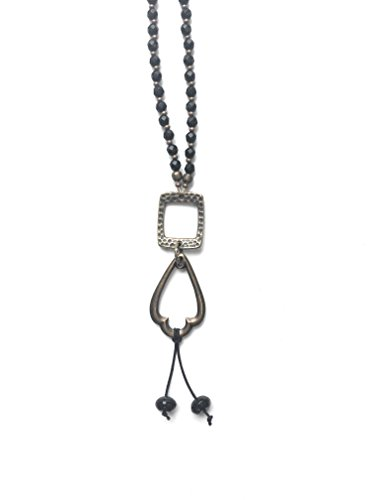 Black Faceted Onyx Crystal Stone Long Necklace with Antique Gold Chain