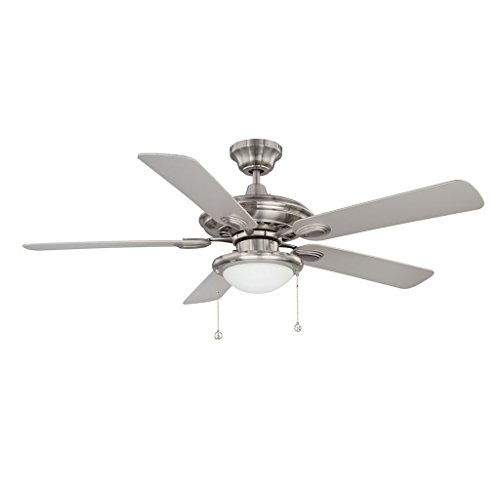(Kendal Lighting AC18152-SN   Builders Choice 52-Inch 5-Blade 1 Light Ceiling Fan, Satin Nickel Finish with Matching Blades and White Opal Light Kit)