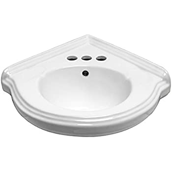 Small Corner Wall Mount Bathroom Sink White Vitreous China With Centerset  Faucet Holes And Overflow Renovatoru0027s