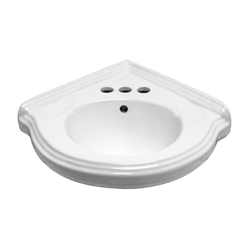 Small Corner Wall Mount Bathroom Sink White Ceramic Vitreous China With Centerset Faucet Holes And Overflow Renovator's Supply