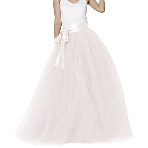 (Lisong Women Floor Length Bowknot Tulle Party Evening Skirt 6 US Ivory)