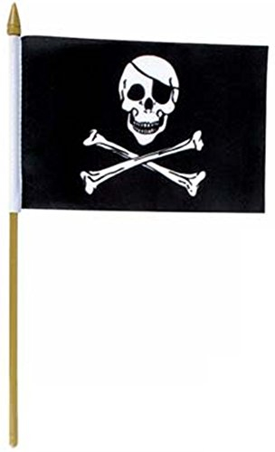 US Flag Store Pirate Jolly Roger Stick Flag, 12 by 18-Inch Pirate Flag Fabric