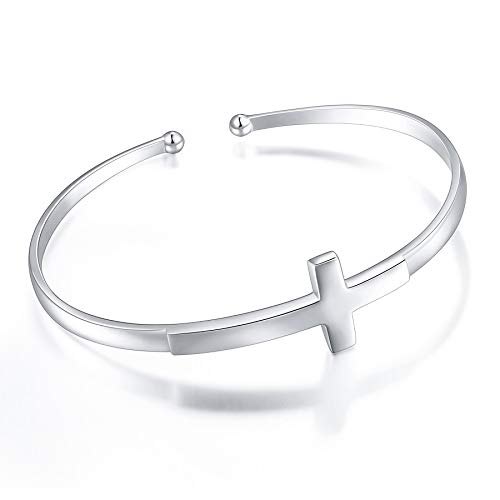 S925 Sterling Silver Engraved Faith Hope Love Inspirational Cuff Cross Bangle for Women Sister Girl