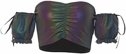 Rebecca Women's Metallic Reflective Crop Top Rave Dance Club Tank Vest for Teen Girls