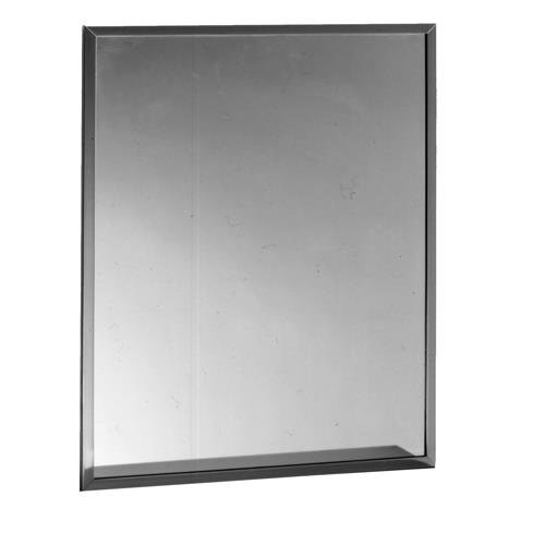 Bobrick 165 Series 430 Stainless Steel Channel Frame Glass Mirror, Bright Finish, 18'' Width x 36'' Height