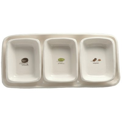 (Rae Dunn Magenta 4 Piece Olive Appetizer Serving Dishes (3) and Serving Tray Set)