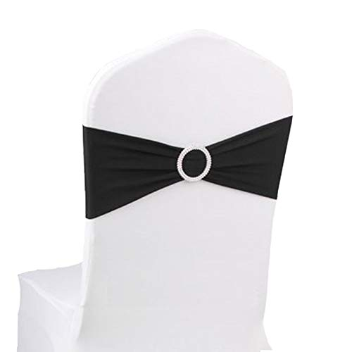 100PCS Stretch Wedding Chair Bands with Buckle Slider Sashes Bow Decorations 10 Colors ()