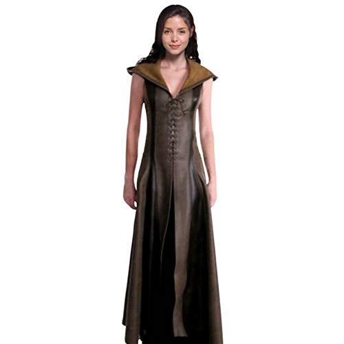 LIOUWSJFZ Halloween Dresses Women Fashion Sexy Slim Lace Up Leather Medieval Ranger Long Dress Adult Coats Cosplay Costume Halloween
